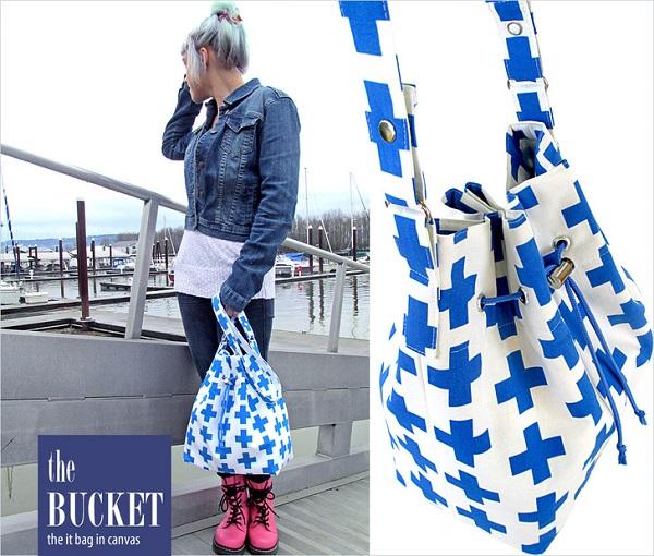 Free pattern: Cinch top canvas bucket bag