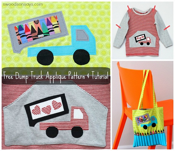 Free pattern: Dump truck applique