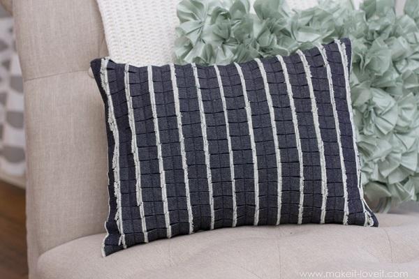 Tutorial: Pleated denim pillow cover