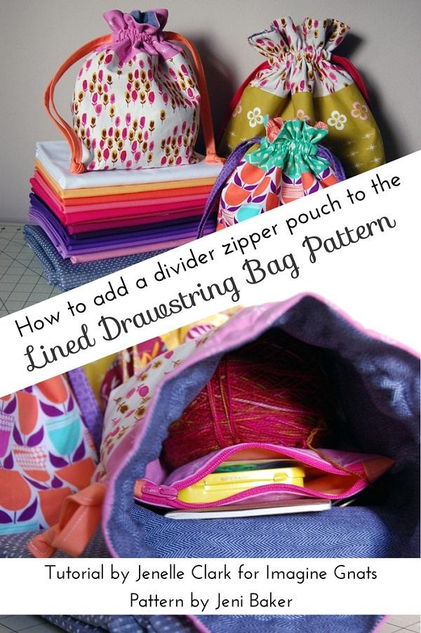 Tutorial: Zippered pocket divider for a drawstring bag