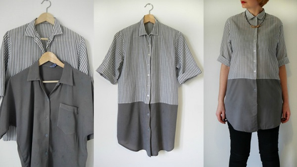Tutorial: Combine 2 shirts to make one color blocked button up shirt