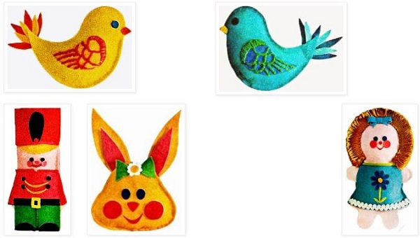 Free pattern: Vintage bean bag toys or appliques