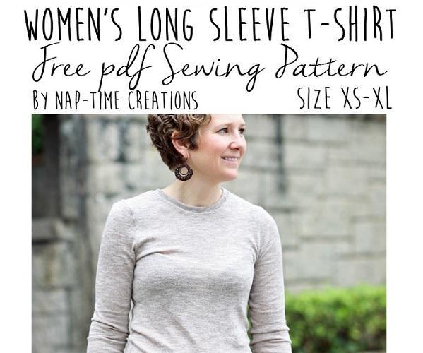 Free Pattern Womens Long Sleeve T Shirt Sewing