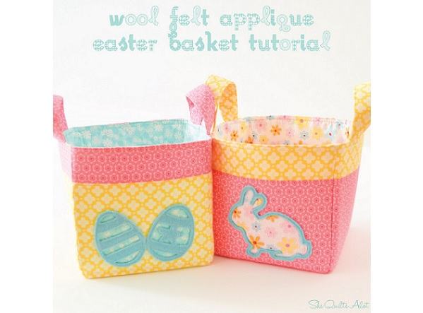 Tutorial: Fabric Easter basket with wool felt applique