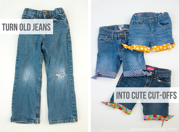 Tutorial: Springtime cut-off jeans shorts with knotted fabric hem