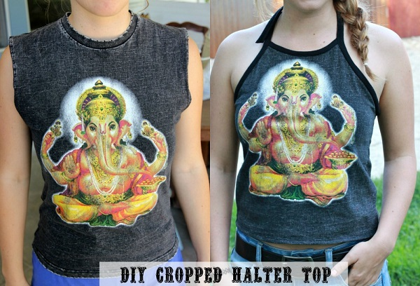 diyhaltertopTutorial: Make a cropped halter top from an old t-shirt