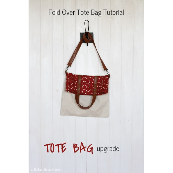 Tutorial: Foldover tote with faux leather handles from a plain canvas tote