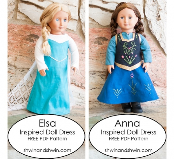 Free pattern: Frozen inspired doll dresses
