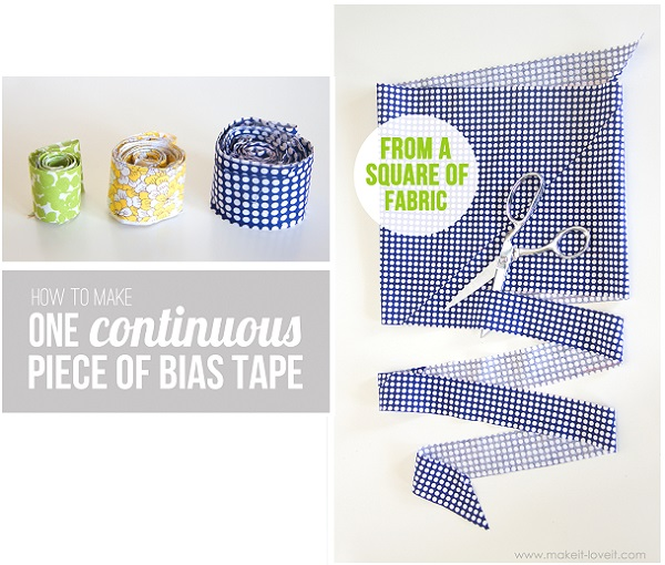 Tutorial: Continuous bias tape from a square of fabric