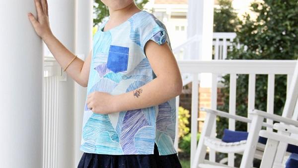 Free pattern: Girls button shoulder top