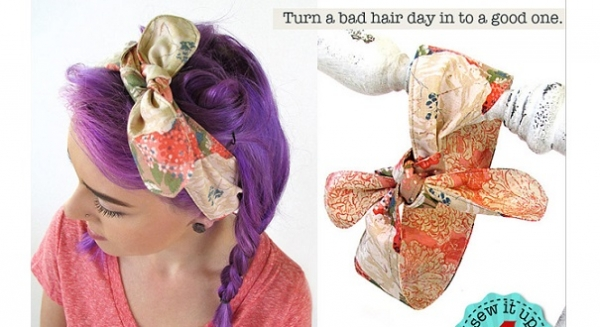 Free pattern: Easy to sew vintage inspired hair wraps