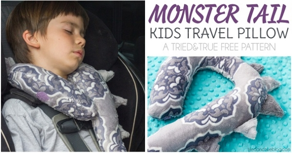 Free pattern: Monster tail kids travel pillow