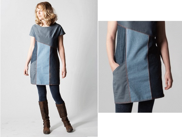 Free pattern: Color blocked denim shift dress