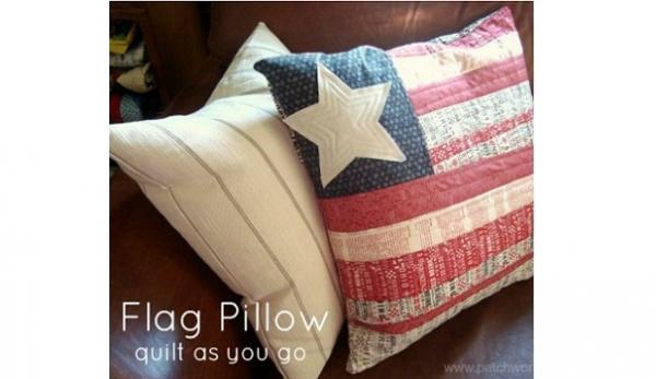 Tutorial: Quilt as you go flag pillow