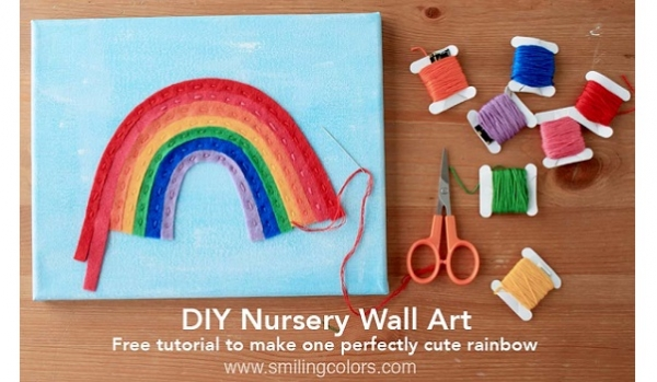 Tutorial: Stitched rainbow wall art