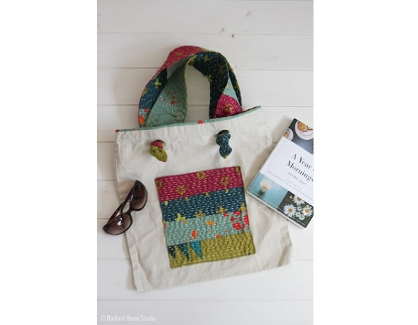 Tutorial: Kantha stitched tote bag