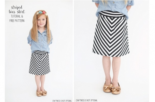 Free pattern: Girls' chevron knit skirt