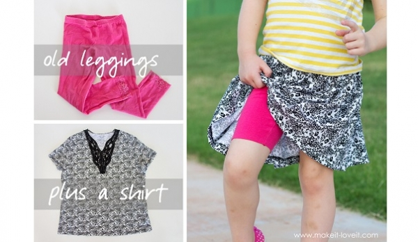 Tutorial: Cheater method for making girls skirts with sewn in shorts