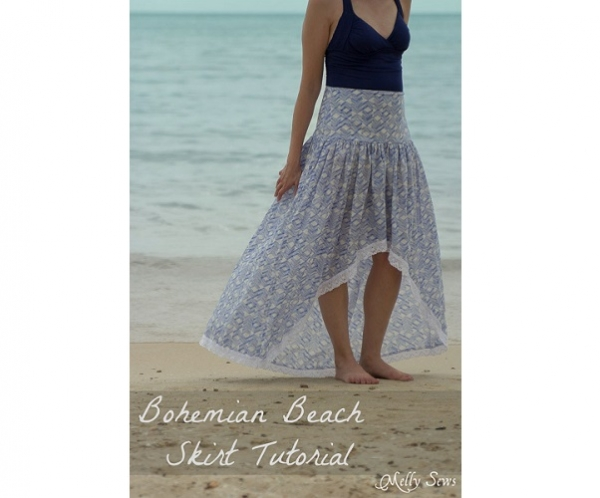 tutorial bohemian maxi skirt with a high low hem sewing