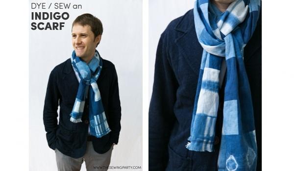 Tutorial: Patchwork indigo scarf from hand dyed fabrics