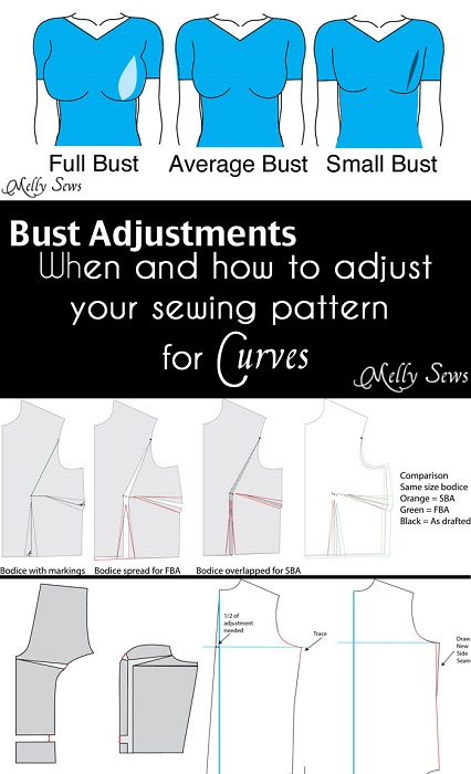 Tutorial: How to make bust adjustments on a sewing pattern