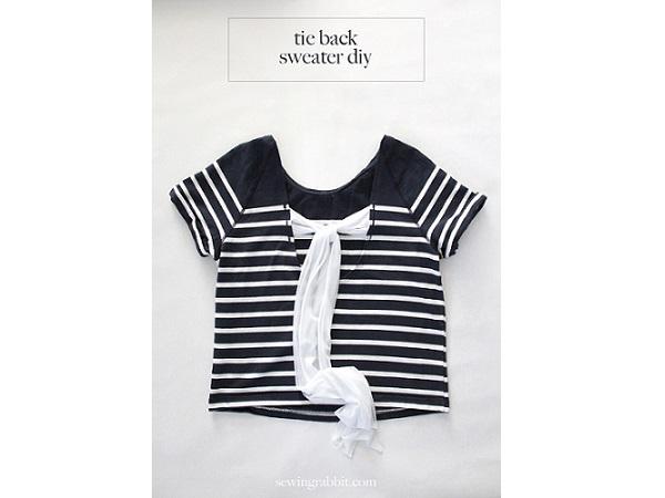 Tutorial: Tie back sweater refashion