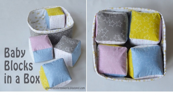 Tutorial: Soft fabric baby blocks in a box