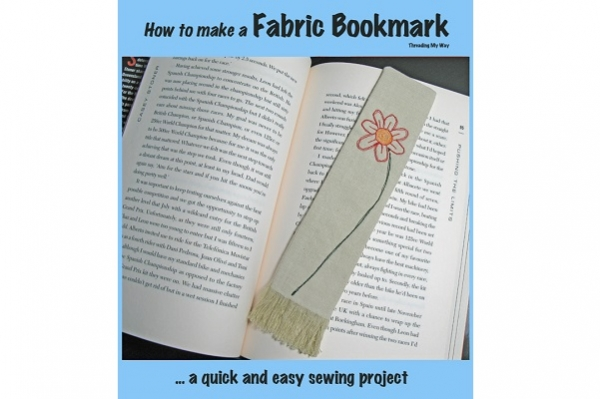 Tutorial: Fringed fabric bookmark with a stitched flower