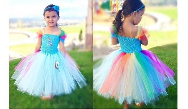 Tutorial: No-sew Rainbow Dash tutu costume