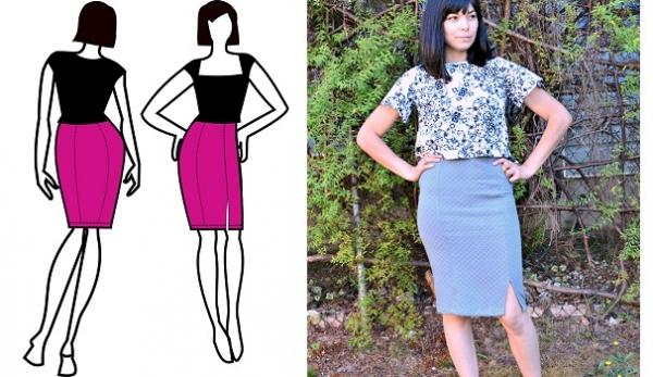 Free pattern: Amy paneled pencil skirt