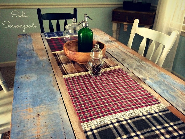 Tutorial: Plaid flannel and lace table runner
