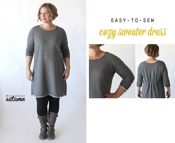 Free pattern: Cozy long sleeved sweater dress