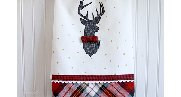 Tutorial: Plaid deer dish towels