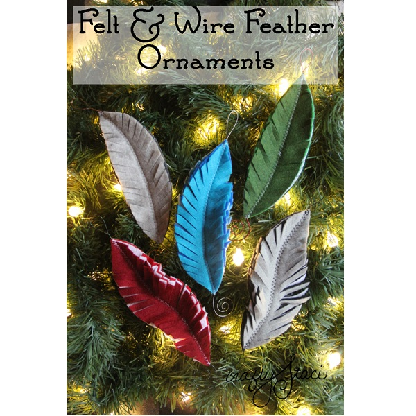 Tutorial: Felt feather Christmas ornaments