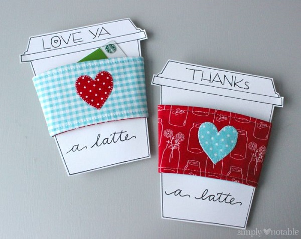 Tutorial: Heart applique coffee sleeve and a printable gift card