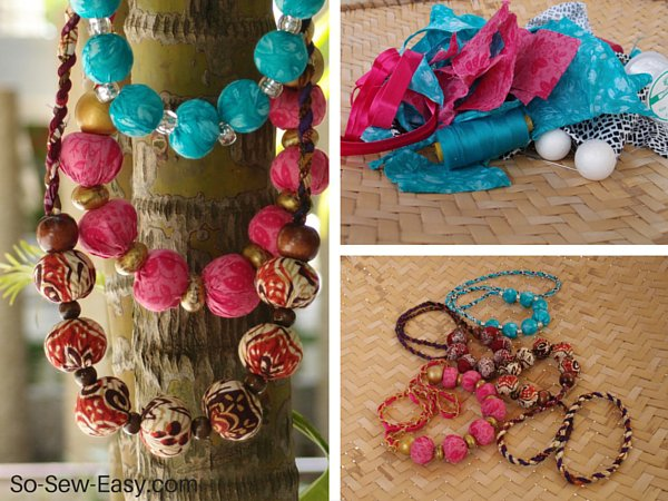 Tutorial Scrap Fabric Beaded Necklace Sewing