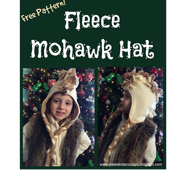 Free pattern: Fringed fleece Mohawk hat for kids