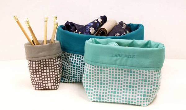 Video tutorial: Squared fabric bins