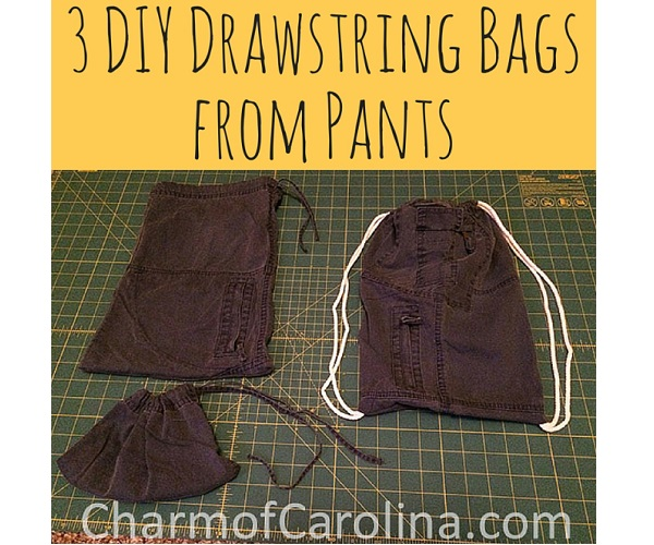 Tutorial: Turn 1 pair of pants into 3 drawstring bags