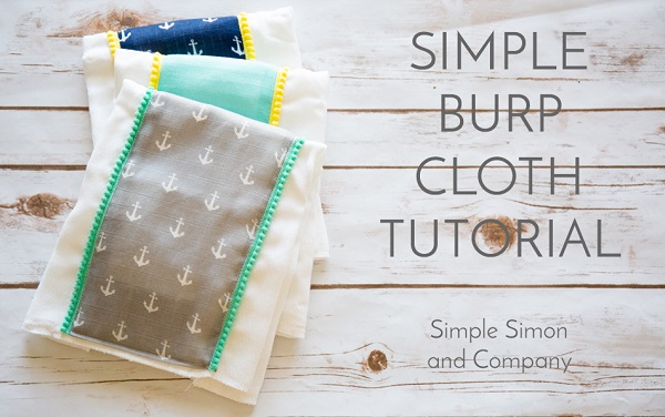 Tutorial: Simple burp cloths with mini pom pom trim