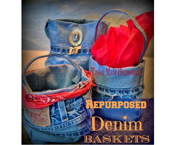 Tutorial: Repurposed jeans denim baskets