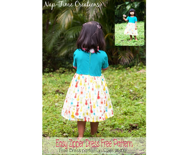 Free pattern: Girls easy zipper dress