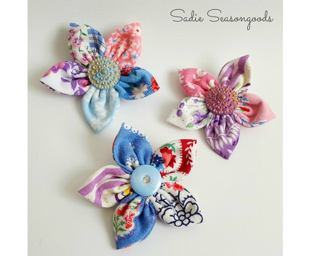 Tutorial: Scrap fabric flower brooch