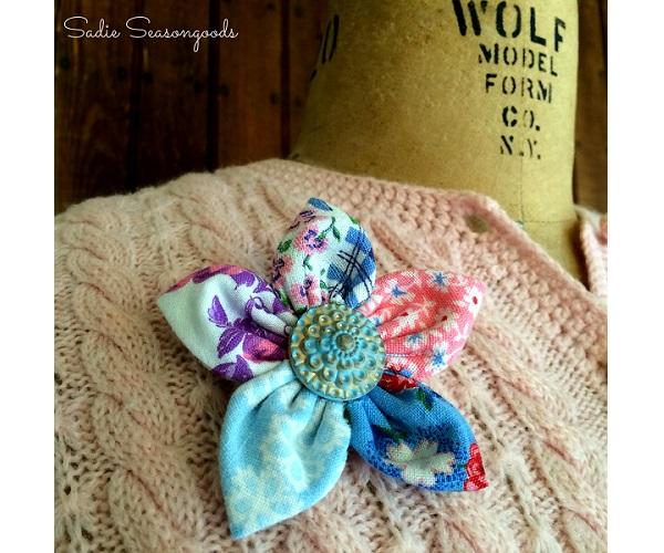 Tutorial Scrap Fabric Flower Brooch Sewing