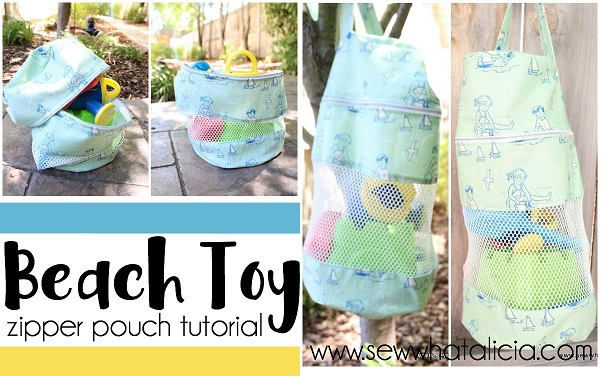 Tutorial: Zipper beach toy tote