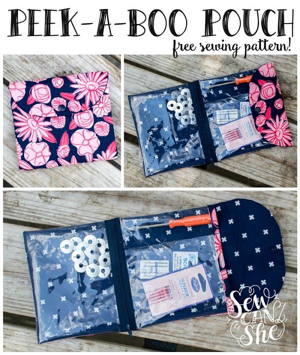 Free pattern: Peek-a-Boo Pouch organizer