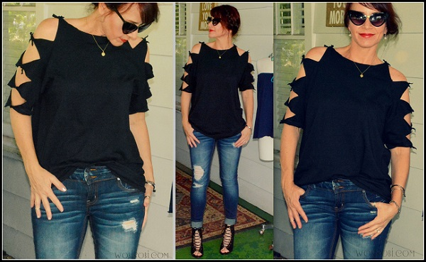 Tutorial: No-sew shoulder tied t-shirt