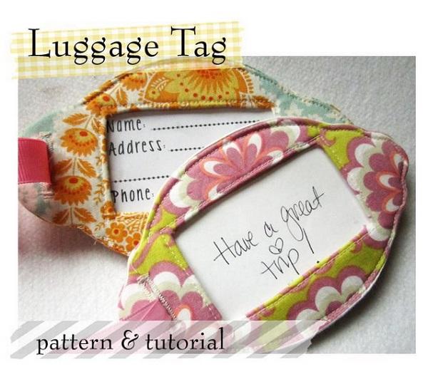 free pattern pretty fabric luggage tags sewing