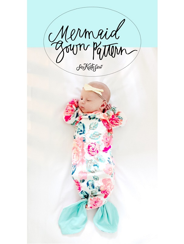 Free pattern: Knotted mermaid tail baby gown
