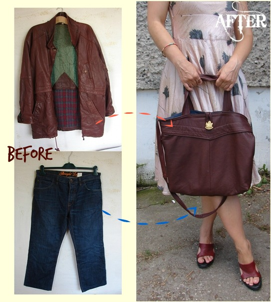 Tutorial: Recycled leather jacket tote bag
